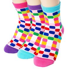 FLUORESCENCE TILE SOCKS 3PAIRS=1PACK Made in KOREA women woman girl big kids fun #COLORMIX #allStyle