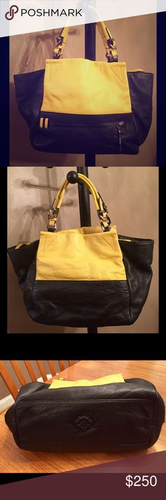 """OrYANY color block leather handbag - large ✳️  OrYANY color block handbag - EXCELLENT NWOT condition! ✳️  100% leather - mustard yellow & black - pretty details ✳️  This is a large bag! - 20"""" L x 12"""" H x 6"""" D ✳️  Top zip with two snaps at side ✳️  Handle drop 7"""" ✳️  Slim zip pocket on front outside ✳️  Inside 2 media slit pockets  & 2 zip pockets ✳️  Beautiful fabric interior in green with burgundy pattern ✳️  PRICE IS FIRM! ✳️  Plz see add'l photos in separate listing Thank you for looking…"""