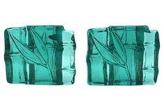 Blenko Teal Art Glass Bamboo Bookends