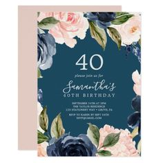 Blush and Navy Flowers Blue Wreath 40th Birthday Invitation Baby Sprinkle Invitations, 30th Birthday Invitations, Brunch Invitations, 40th Birthday Parties, Custom Invitations, Blue Birthday, Invites, Birthday Brunch, Butterfly Birthday