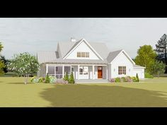 An L-shaped porch - part covered, part screened - give this 3-bed house plan country-farmhouse charm.Inside, the great room ceiling vaults to 16 and gets natural light from windows in the large front gable.An open floor plan makes the home great for entertaining. The kitchen and dining areas flow seamlessly together. A built-in eating area and an adjacent workspace and china cabinet makes the most out of every square foot in the home.In back, a grilling porch gives you another place to enjoy t