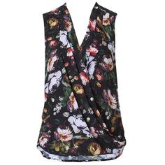 Miliania Drape Floral Blouse - Black MultiThis sleeveless blouse features a draped cross over front with front shoulder tuck details. This blouse can be styled tucked into a skirt or worn loose over jeans. It features our exclusive painterly winter floral print design.