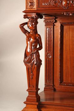 A French Renaissance Style Wood Carved Cabinet Attributed to Fourdinois, 1893