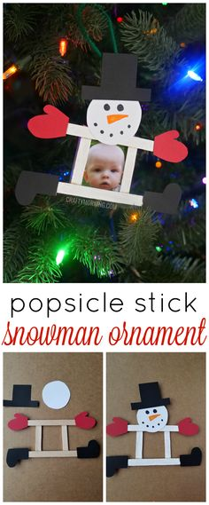 Popsicle stick snowman photo ornament to make for a keepsake! Cute christmas craft idea.