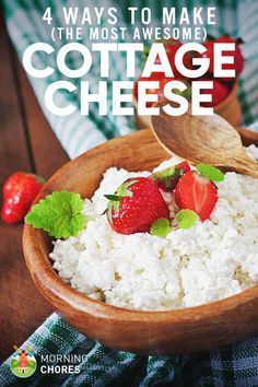 to make cottage cheese in 4 different methods that will surely make you surprised by how delicious and easy it actually is.how to make cottage cheese in 4 different methods that will surely make you surprised by how delicious and easy it actually is. Goat Milk Recipes, Yogurt Recipes, No Dairy Recipes, Cooking Recipes, Healthy Recipes, Cooking Games, What's Cooking, Diet Recipes, Healthy Snacks