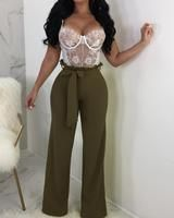 Style:Fashion Pattern Type:Solid Material:Polyester Length:Long Occasion:Casual Package Package Include: Pants Note: There might be difference according to manual. Basic Outfits, Girl Outfits, Cute Outfits, Tie Waist Trousers, Pantalon Large, Estilo Fashion, Pink Fashion, Pattern Fashion, Wide Leg Pants