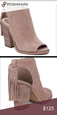 Vince Camuto Kyleena Booties Suede peep toe booties with zipper. 4 inch heel with knotted fringe trim at the heel. Vince Camuto Shoes Ankle Boots & Booties