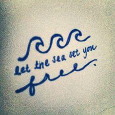 handwritten Let The Sea Set You Free