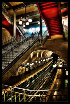 Paris Metro. Not only are the entrances beautiful, the stations are as well