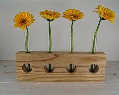 Irish Ash Wooden Flower vase with glass test tubes. Wooden Flowers, Table Flowers, Bud Vases, Flower Vases, Test Tube Crafts, Rustic Cross, Wood Vase, Wooden Crafts, Craft Party
