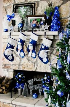 DIY Ornament Topiary - Blue & Silver - How to make tutorial - Table centerpiece or decoration - NEW Christmas lights New Christmas Lights, Blue Christmas Tree Decorations, Frozen Christmas Tree, Christmas Centerpieces, Christmas Colors, Christmas Themes, Christmas Villages, Holiday Decor, Christmas Fireplace