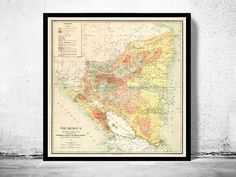 Old Map of Nicaragua 1903 Vintage Map