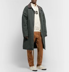 Fear Of God Oversized Suede-trimmed Faux Shearling-lined Canvas Coat In Green Fashion Advice, Fashion News, Oversized Coat, Green Cotton, Work Wear, Luxury Fashion, Raincoat, Sweatpants, God