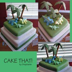 Cute double decker square dinosaur cake