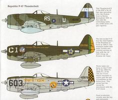 old combat aircraft | vintage Aircraft print Republic Thunderbolt WWII airplane military ...