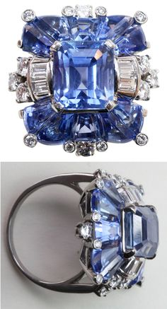 A fabulous platinum ring set with natural pastel colored Ceylon sapphires; the center an emerald cut sapphire flanked by special modified trapezoid cut sapphires, all in exactly the same color and accented by baguette and brilliant cut diamonds, signed and numbered: Oscar Heyman, 79595, U.S.A., circa 1930-1940..
