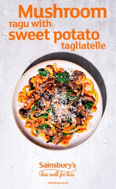 Swap regular pasta for Sainsbury's sweet potato tagliatelle noodles. This vegetarian version of the class winter comfort food is just 300 calories and uses 4 different types of mushroom including shiitake, portobello, chesnut and dried mushrooms. This is a delicious healthy dinner option.
