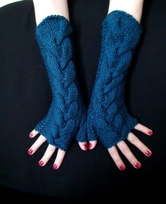 Fingerless Gloves Blue Dark Ocean Cabled  Wrist by LaimaShop, $38.00