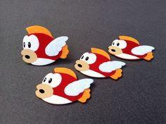 Cheep Cheep Mario brothers Felt Applique (Set of 4 pieces)