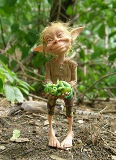 **Troll and dragon. How too ugly, it's cute troll! Clay Fairies, Elves And Fairies, Flower Fairies, Dragons, Kobold, Clay Dolls, Magical Creatures, Forest Creatures, Woodland Creatures