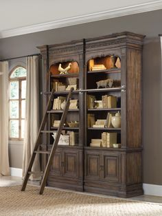 "Double bookcase & ladder....needs a pullout shelf to make a desk and it""s perfect."