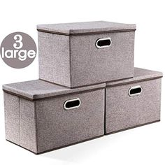 Prandom Large Collapsible Storage Bins with Lids Linen Fabric Foldable Storage Boxes Organizer Containers Baskets Cube with Cover for Home Bedroom Closet Office Nursery - Daily Buy Tips Collapsible Storage Cubes, Storage Bins With Lids, Yarn Storage, Plastic Container Storage, Container Organization, Cube Storage, Storage Containers, Storage Boxes, Closet Office