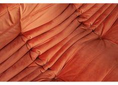 Canapé 2 places Togo en velours orange par Michel Ducaroy pour Ligne Roset Ligne Roset, Michel, Orange, Products, 2 Seater Sofa, Velvet, Beauty Products