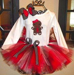 Ginger Bread Tutu Set : Gingerbread Tutu Outfit : Red and White Gingerbread Set