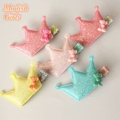 Wholesale 20pcs/lot Felt Hair Clip Bowknot Glitter Crown Barrettes Hotsale Pink Hairpin Cute Blink Girl Handmade Hair Accessory