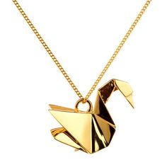 Origami Swan Necklace. Exists in 3 materials ; gold plating, silver and gun metal $153.50