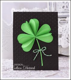 handmade St. Patrick's Day card ... Giant Shamrock - A Tutorial from Dietrich Designs ... luv the fresh look of green on black!