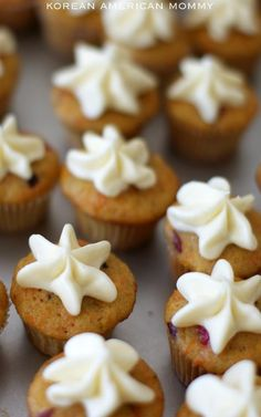 Fresh Cranberry & Carrot Cupcakes with Cream Cheese & Butter Frosting