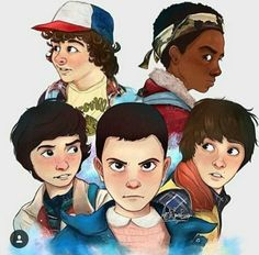 Stranger Things. Dustin, Lucas, Mike, Will, and Eleven.