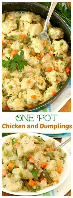 One Pot Chicken and Dumplings: Savory chicken and dumplings smothered in a creamy sauce with your favorite vegetables, all made in one pot! I'm gonna make this with chicken dumplings from a nearby Russian deli. Self-nurturing=cooking. Diabetic Chicken Recipes, Cooking Recipes, Healthy Recipes, Meal Recipes, Turkey Recipes, Yummy Recipes, One Pot Dinners, Easy Dinners, One Pot Chicken