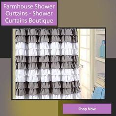 Best Farmhouse Shower Curtains! Discover the best farmhouse shower curtains. We love decorating our bathroom with farmhouse shower curtains Shabby Chic Shower Curtain, Farmhouse Shower Curtain, Rustic Curtains, Shower Curtains, Rustic Farmhouse, Farmhouse Style, Ticking Stripe, Grey Pattern, Spring Home