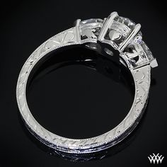 """This ring has the Irish claddagh symbol built into the setting (two hands holding a heart). Now THIS is perfection."""" - Such a cutely clever take on a claddagh ring. Claddagh Symbol, Claddagh Rings, Three Stone Engagement Rings, Diamond Engagement Rings, Claddagh Engagement Ring, Celtic Wedding Rings, Irish Wedding, Hand Engraving, Jewelry Rings"""