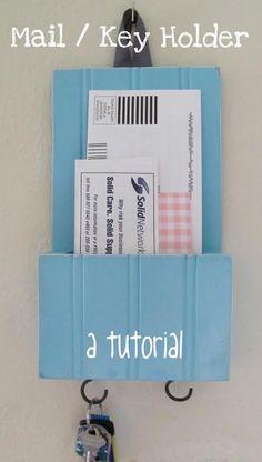 DIY Mail/Key Holder using plywood beadboard. Mail And Key Holder, Mail Holder, Key Holders, Crafts To Do, Home Crafts, Diy Crafts, Wooden Crafts, Do It Yourself Organization, Getting Organized