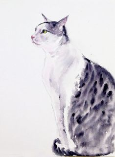"Buy Cat - Watercolor painting -Alert Cat 13.75"" x 10.25"", Watercolor by Art by Aashaa on Artfinder. Discover thousands of other original paintings, prints, sculptures and photography from independent artists. Watercolor Paintings For Sale, Watercolor Cat, Cat Paintings, Watercolour Painting, Cat Lover Gifts, Cat Lovers, Lovers Art, Cat Drawing Tutorial, Original Art"