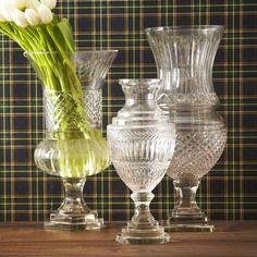 Etched Vintage Inpired Hurricane Vases - Set of 3