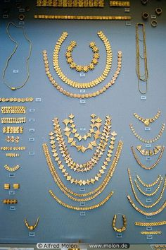 Mycenaean Gold Bead Necklaces, ca. 1550-1450 BC, Greece; National Archaeological Archives, Athens, Greece.