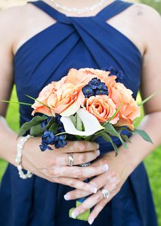 Navy blue and peach wedding
