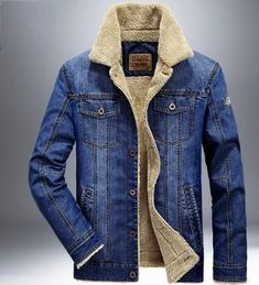 Men Jacket and Coats Denim Jacket Men's Jeans Jacket Thick Warm Outwear Cowboy #MensJacket
