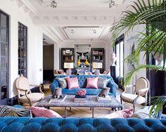 interior design, decor, living rooms, color, madrid, blue sofa, blue home, homes, blues