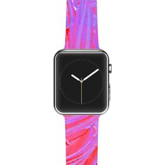 "Ebi Emporium ""Water Flowers Crimson Lilac"" Pink Red Apple Watch Strap"