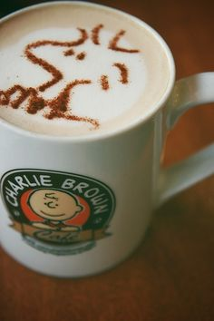 How my sister likes her latte'...Peanuts style, extra Woodstock!