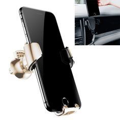 [$4.93] Baseus Universal TPE Gravity Adjustable Car Cup Holder Stand for iPhone, Samsung, Lenovo, Sony, HTC, LG, Huawei, Suitable for Intelligent Mobile Phone(Gold)