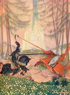 At Last Sir Gareth Overcame the Red Knight by: Thomas Mackenzie (Artist) from: Arthur and His Knights (Facing p. 148) - n.d. [1920?]