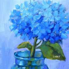 """Daily Paintworks - """"Blue for One"""" - Original Fine Art for Sale - © Libby Anderson"""