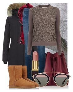 """""""Winter- let it snow"""" by jacisummer ❤ liked on Polyvore featuring Kristin Miller, Canada Goose, Sophie Hulme, Tom Ford, Burberry, Christian Dior and UGG Australia"""