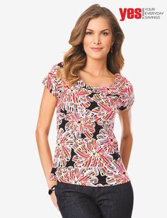 Palias Royal  Rafaella Stain Glass Print Top  30 USD